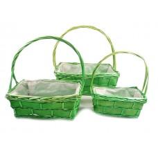 Košare oglate z ročajem, sv. zelene, 38x29 viš 16 / 40 cm, set 3 kosi