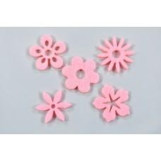Filc cvetovi mešano, roza, 3 cm, 50 kosov