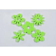 Filc cvetovi mešano, zeleni, 3 cm, 50 kosov