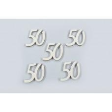 Lesene številke 50, natur, 5 cm, 30 kosov