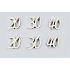 Lesene številke 20+30+40, natur, 2,5 cm, 40 kosov