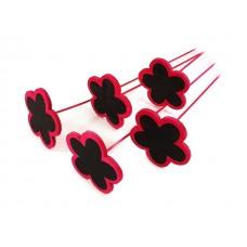 Tablice - roža na palčki, rdeče/črna, 20 kosov