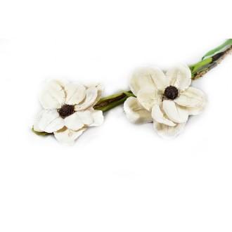 Montirani cvetovi Deco, beljeni, 2 kosa