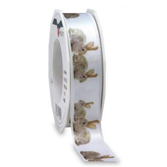 Trak Zajčki, beli, 25 mm, 20 m
