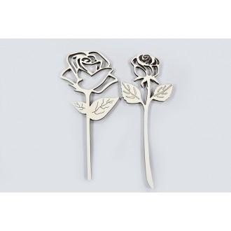 Lesene vrtnice s steblom, natur, 12 cm, 10 kosov