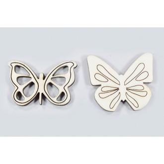 Lesene metulji, natur, 5 cm, 20 kosov