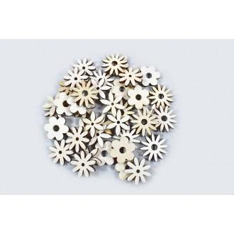 Lesene rože mešane, natur, 2,5 cm, 40 kosov