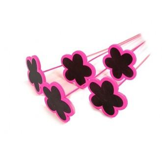 Tablice - roža na palčki, pink/črna, 7 cm, 20 kosov