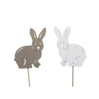 Zajčki les. na p., sivi in beli, 7,5 x 6,5 cm, 16 kosov