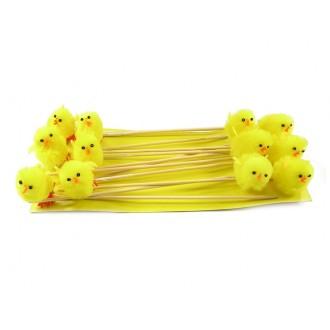 Piščanci iz pliša na palčki, rumeni, V 5 cm, 12 kosov