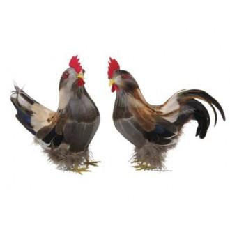 Petelin + kokoš iz perja, sivi, 19 cm